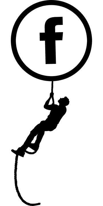 Person climbing a rope up to a facebook icon to depict seo techniques and growth