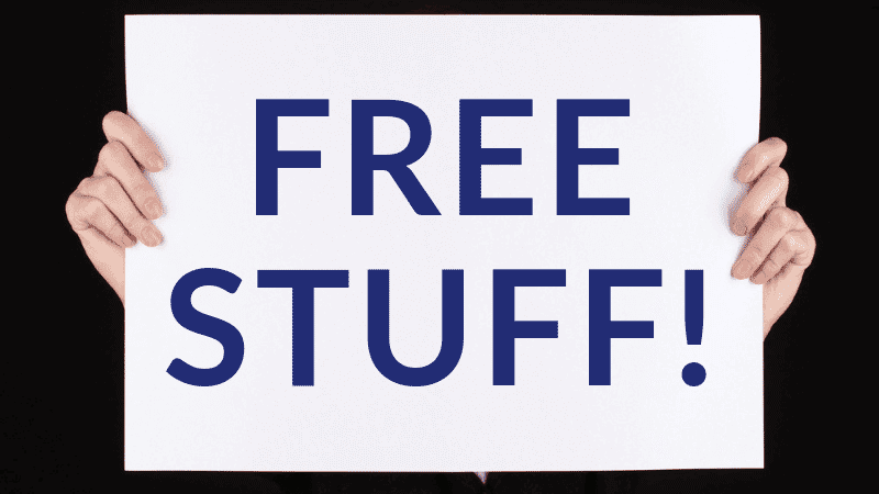 hands holding up sign for free stuff